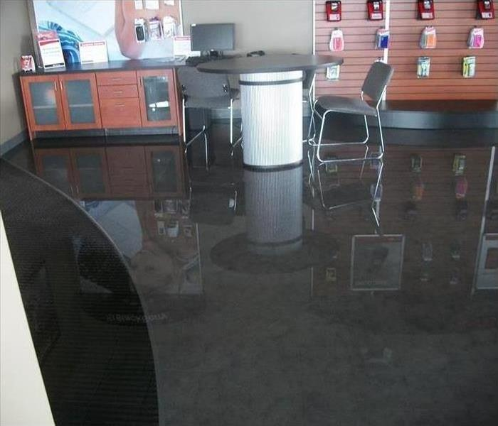 Standing water in a retail store