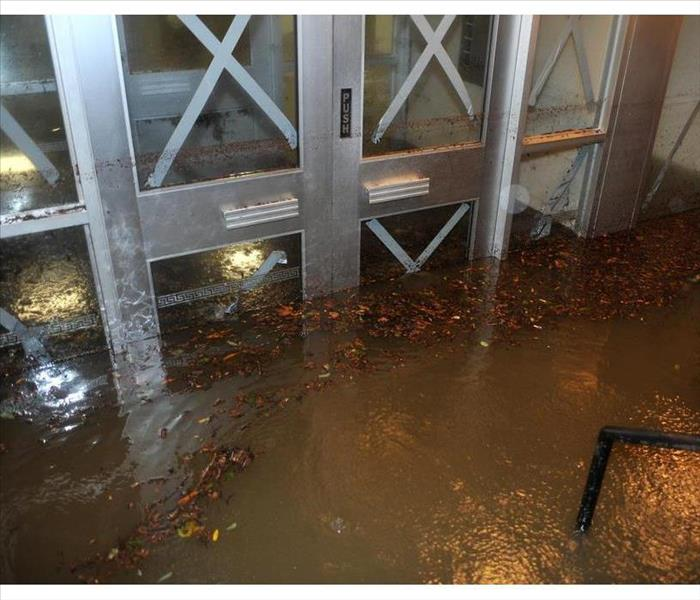 Flooded entrance of a building